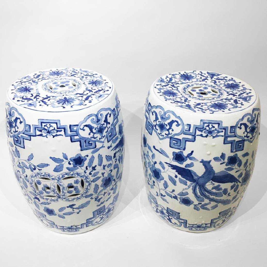 Two Chinese Blue & White Porcelain Garden Stools