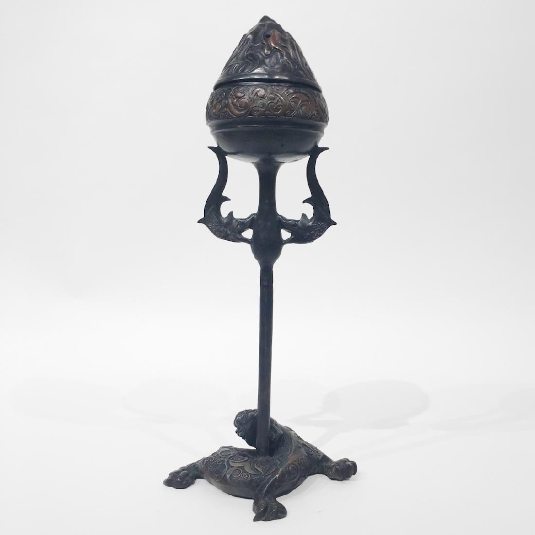 Chinese Bronze Incense Burner in Lotus Bud Form