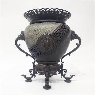 Large Japanese Bronze Incense Burner