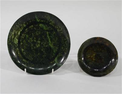 Two Chinese Spinach Green Jade Plates