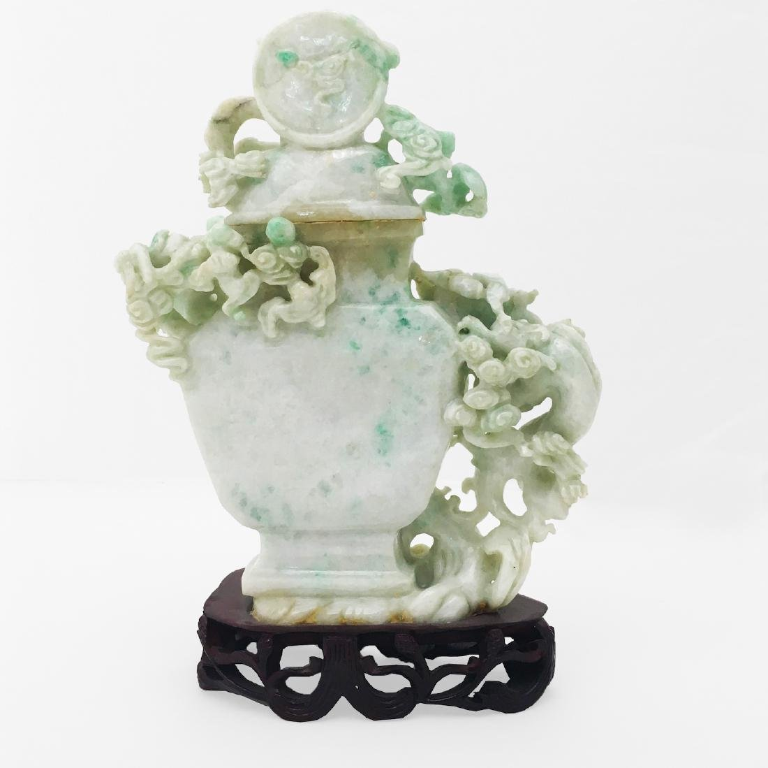 A white and Green Jade Covered Urn