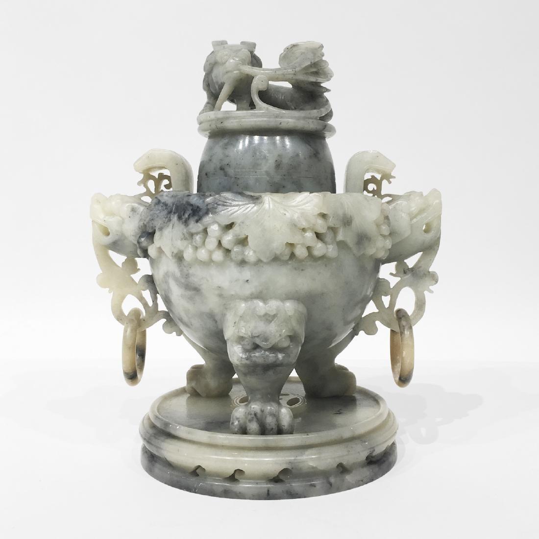 Large White Jade Covered Urn