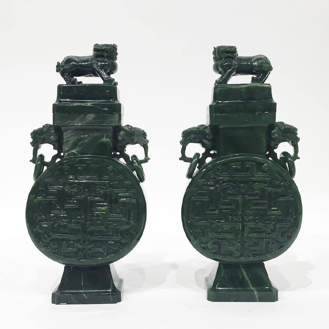 Pair of Chinese Spinach Green Jade Urns.