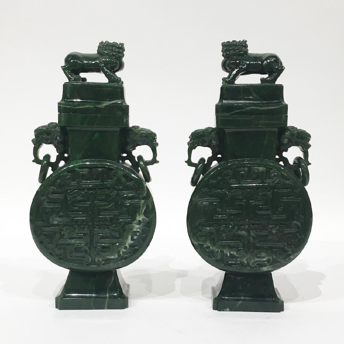 Pair of Chinese Spinach Green Jade Urns. - 2