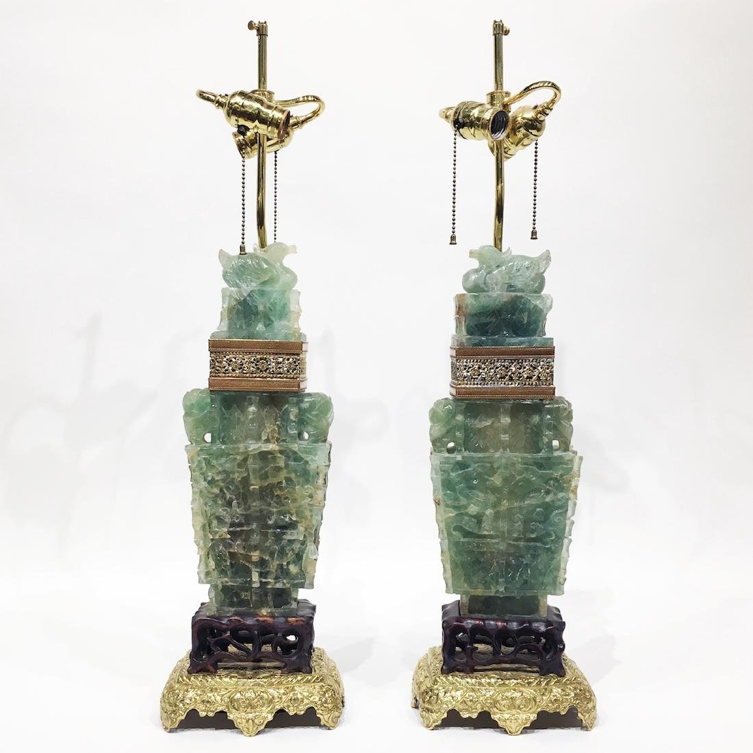 Pair of Chinese Green Nephrite Lamps