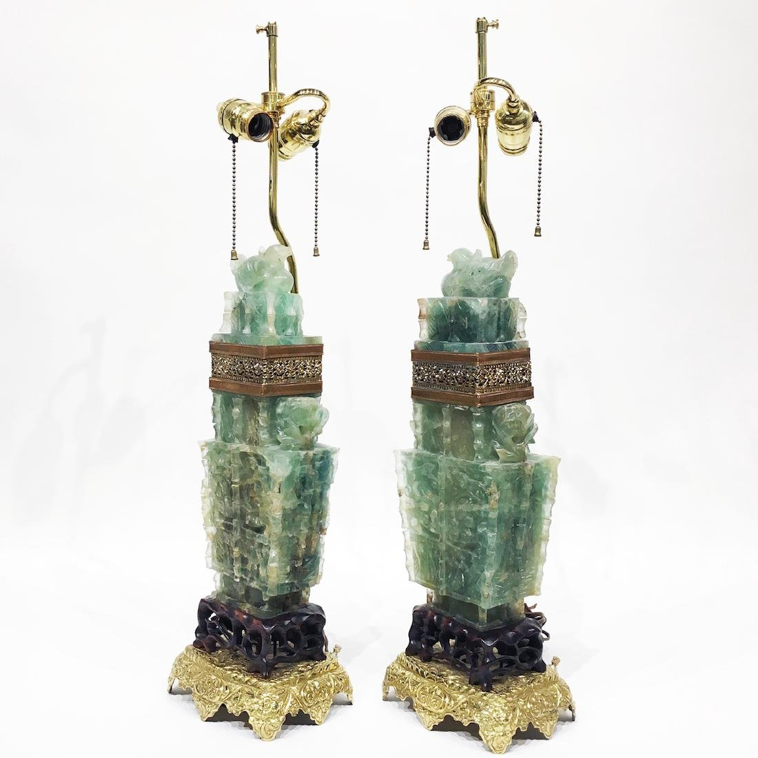 Pair of Chinese Green Nephrite Lamps - 2