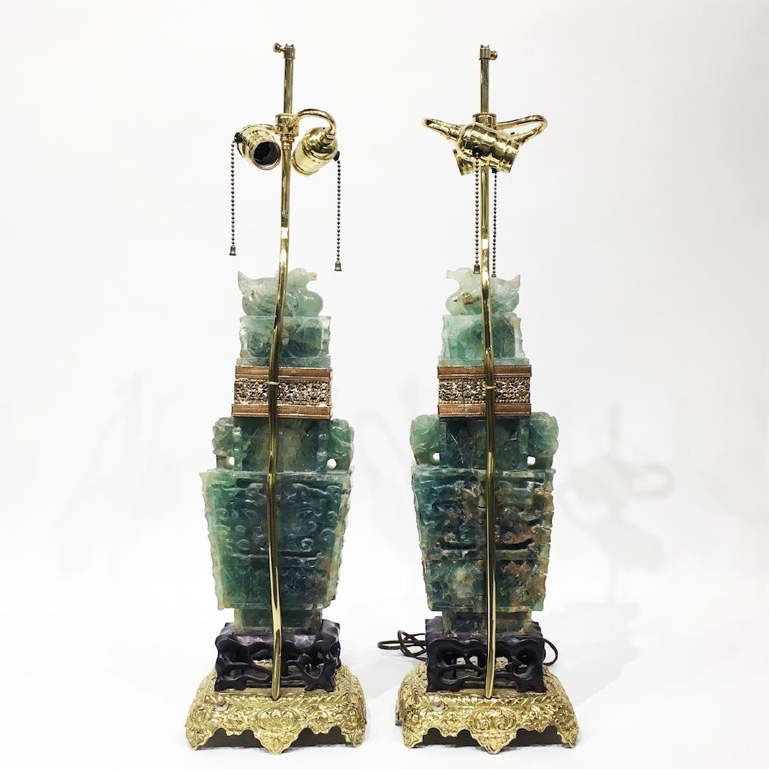 Pair of Chinese Green Nephrite Lamps - 3
