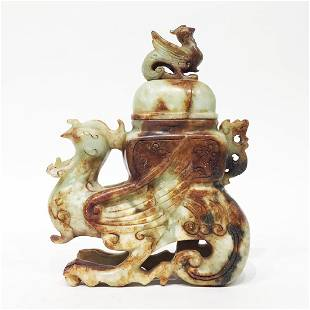 Jade Covered Urn in the form of DragonBirds
