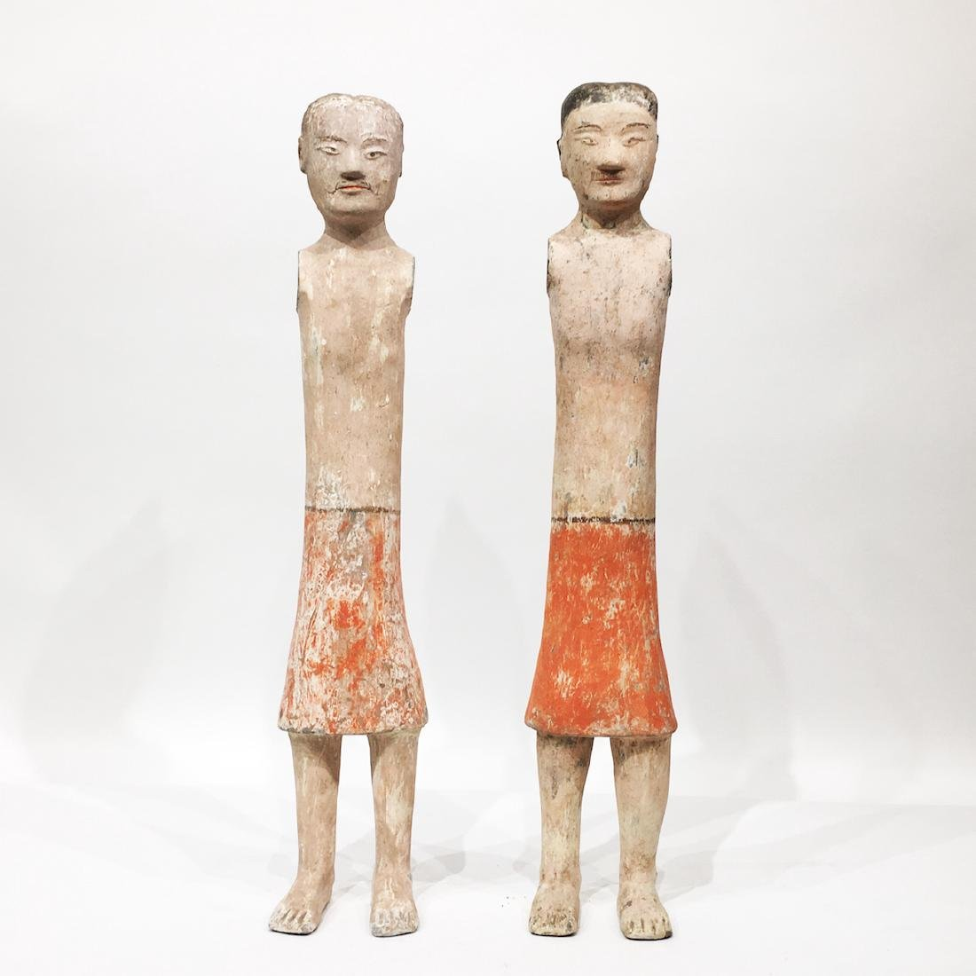 Pair of Chinese Terracotta/Pottery Tomb Figures