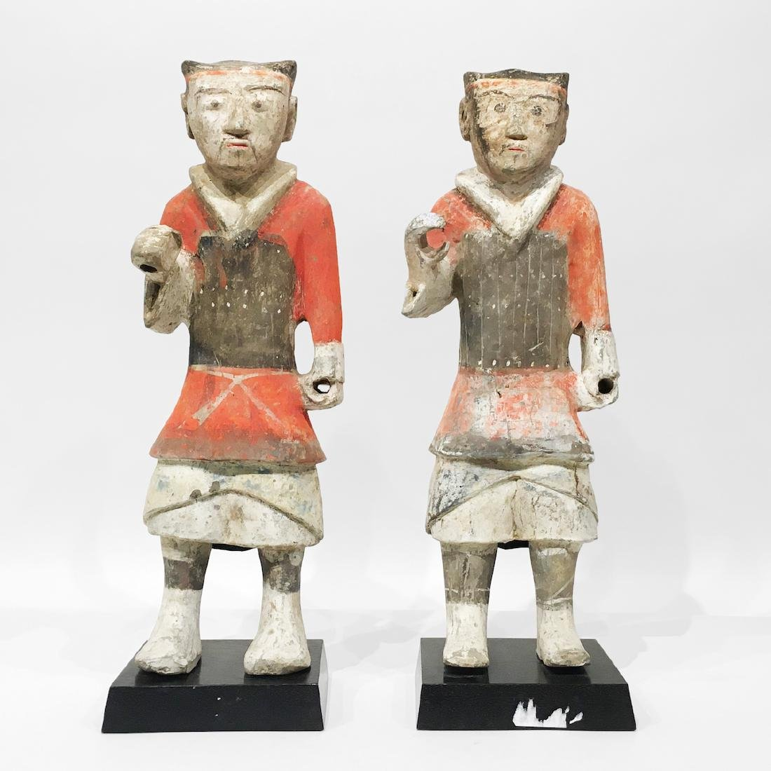 Pair of Chinese Terracotta/Pottery Tomb Soldiers