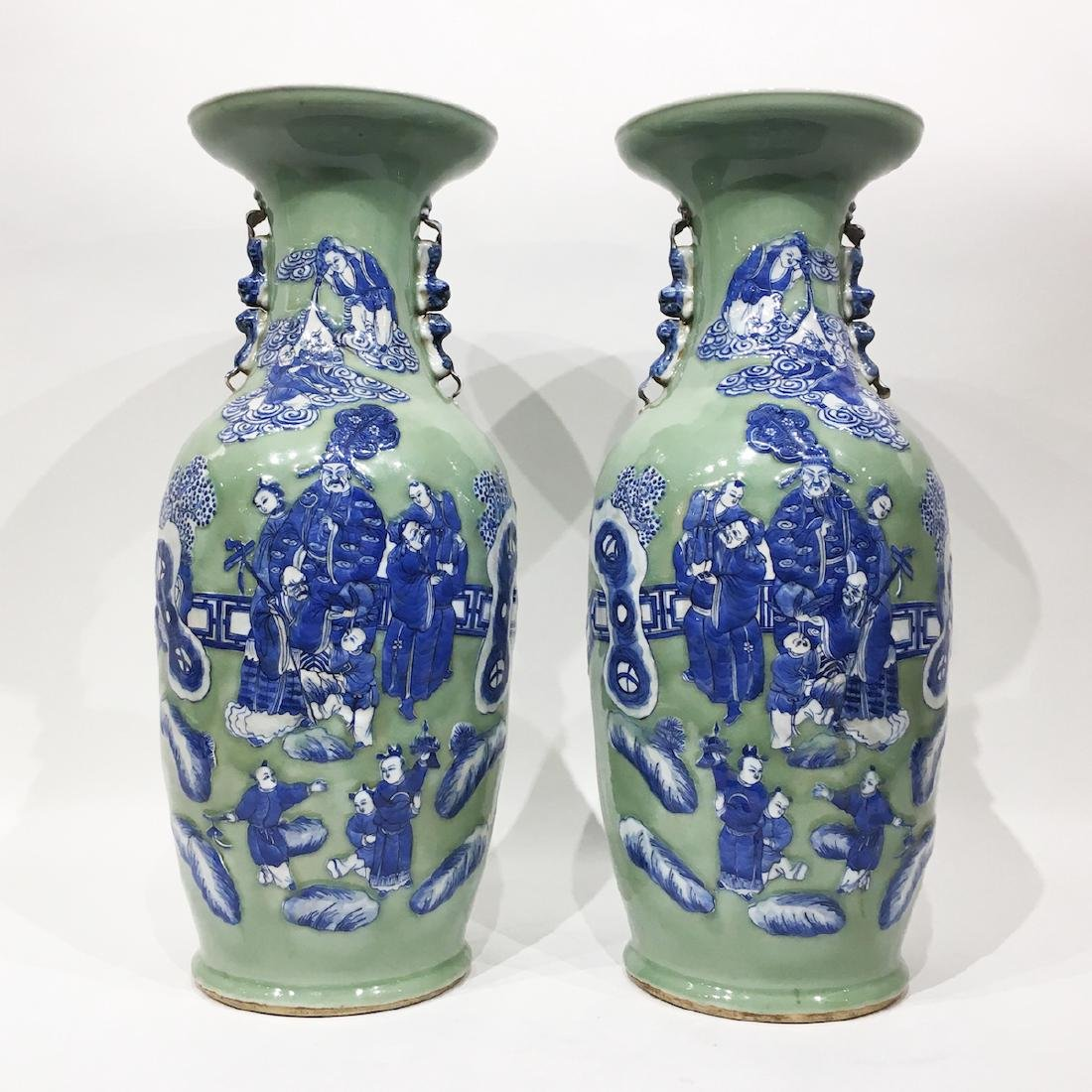 Large Pair  Chinese Celadon Porcelain Vases