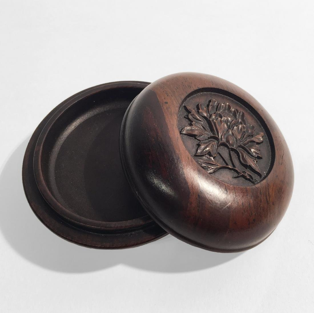 Chinese Hand Carved Zitan Wood Box - 3
