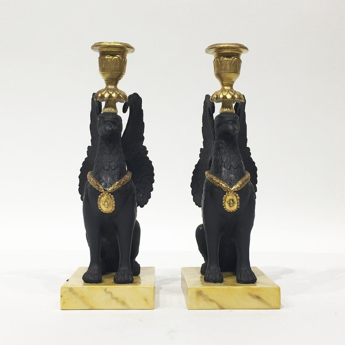 Pair of Mottahedeh Griffin Candelsticks