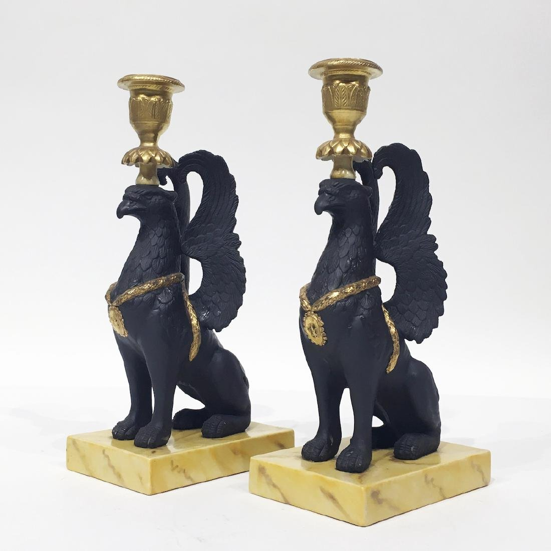 Pair of Mottahedeh Griffin Candelsticks - 2
