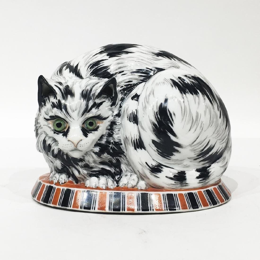 German Porcelain Cat lamp, marked