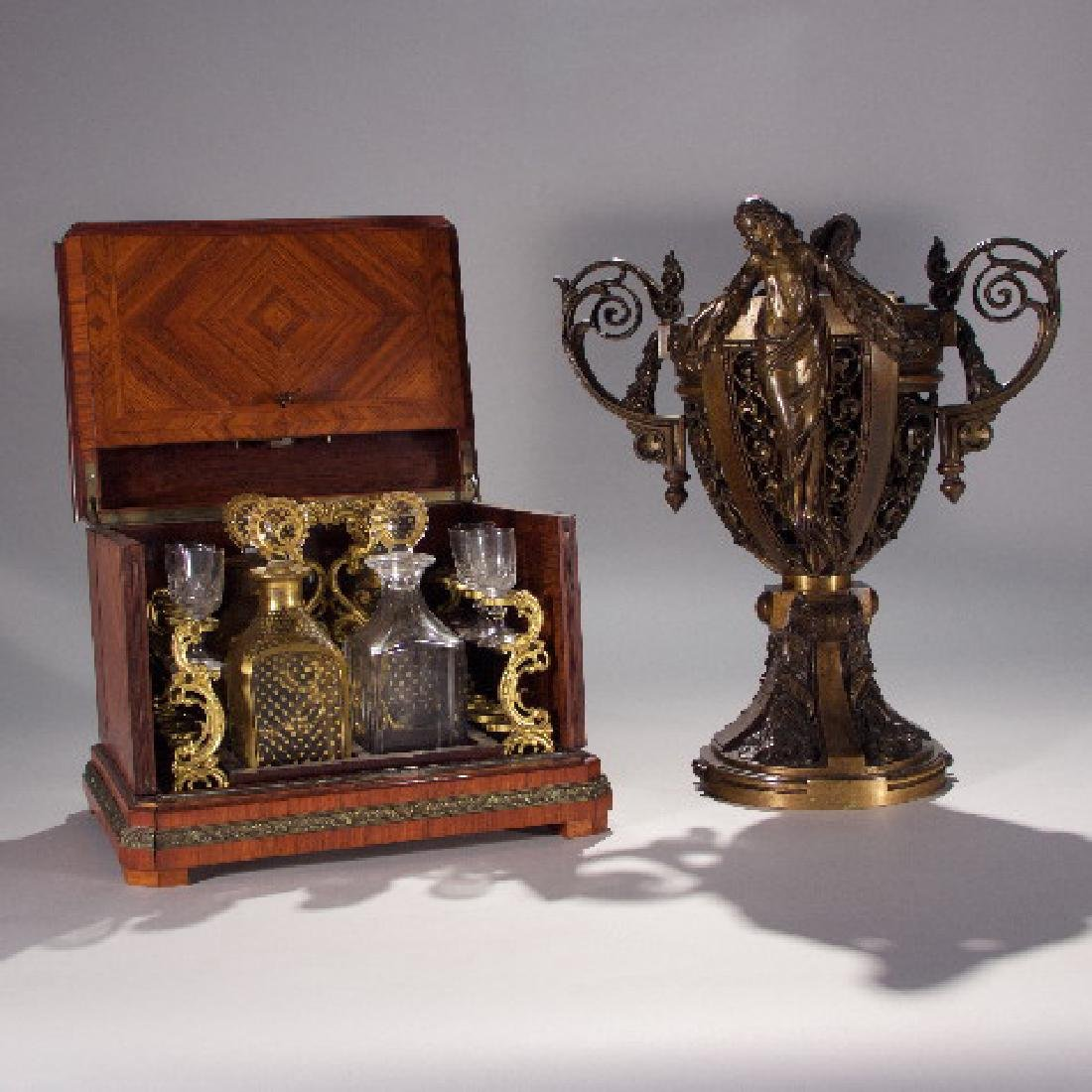 19th Century Partial Tantalus Set and One Bronze