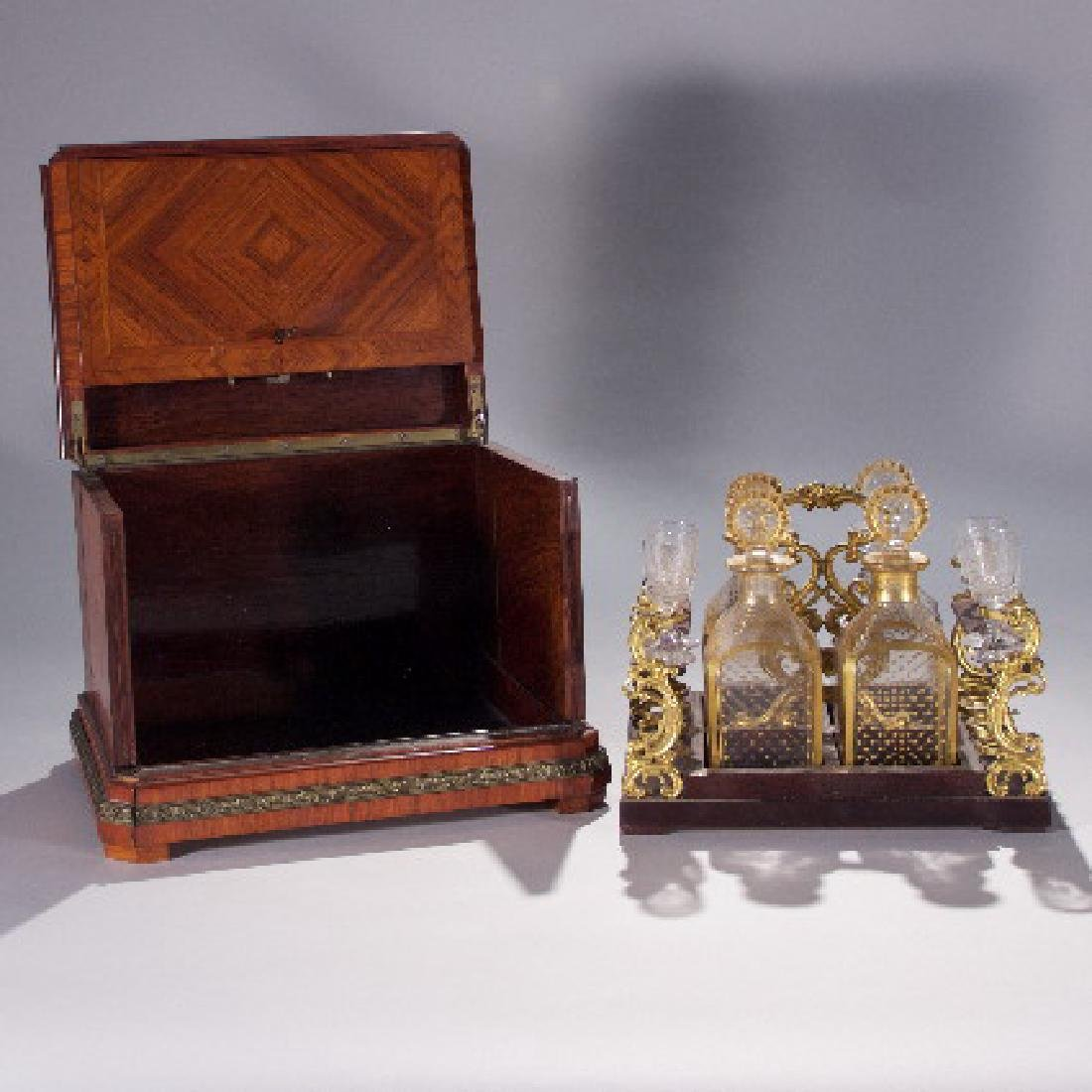 19th Century Partial Tantalus Set and One Bronze - 2