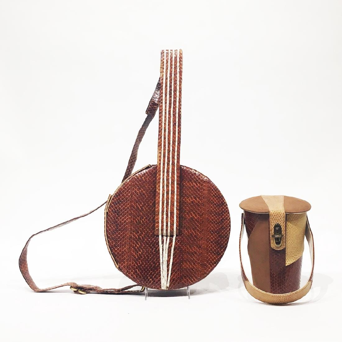Two Snakeskin and Leather Purses Banjo & Drum