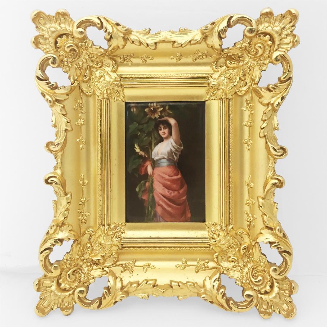 KPM Porcelain Plaque in Gold Gilt Frame