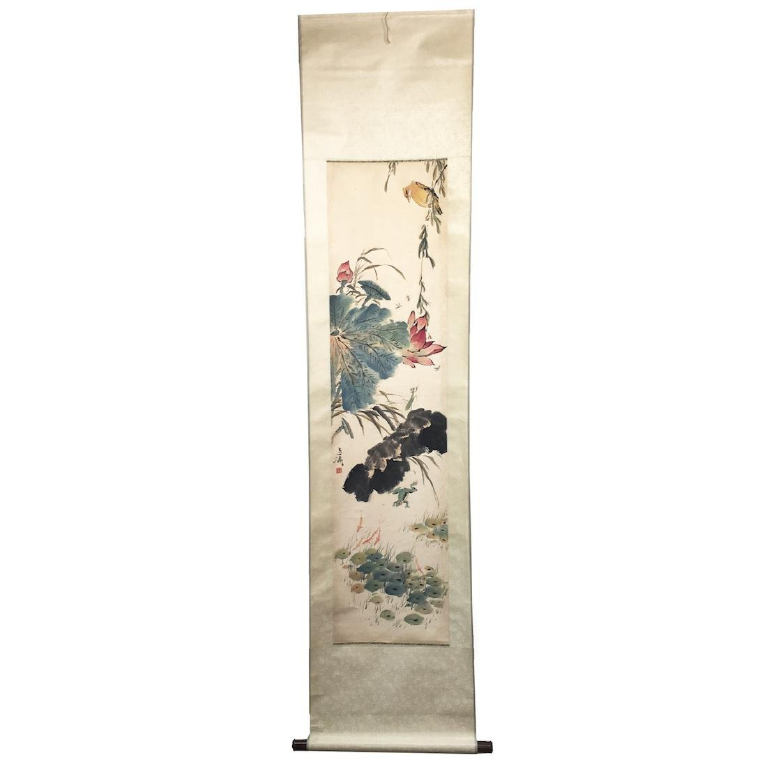 A Chinese Painting Scroll with Birds