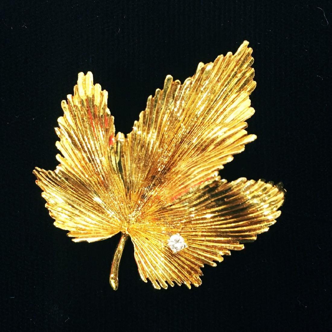 Tiffany Gold Leaf Pin