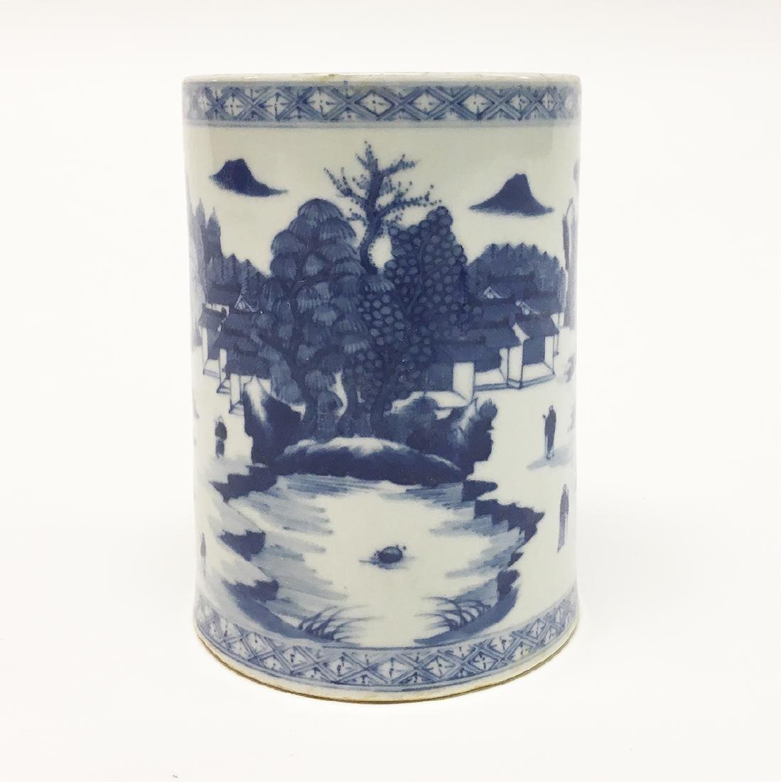 Chinese Blue and White Porcelain Brush-Pot - 2