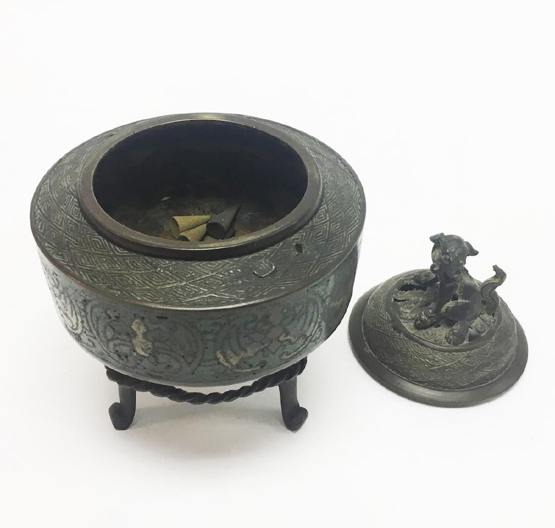 Chinese Enamel and Bronze Incense Burner - 3