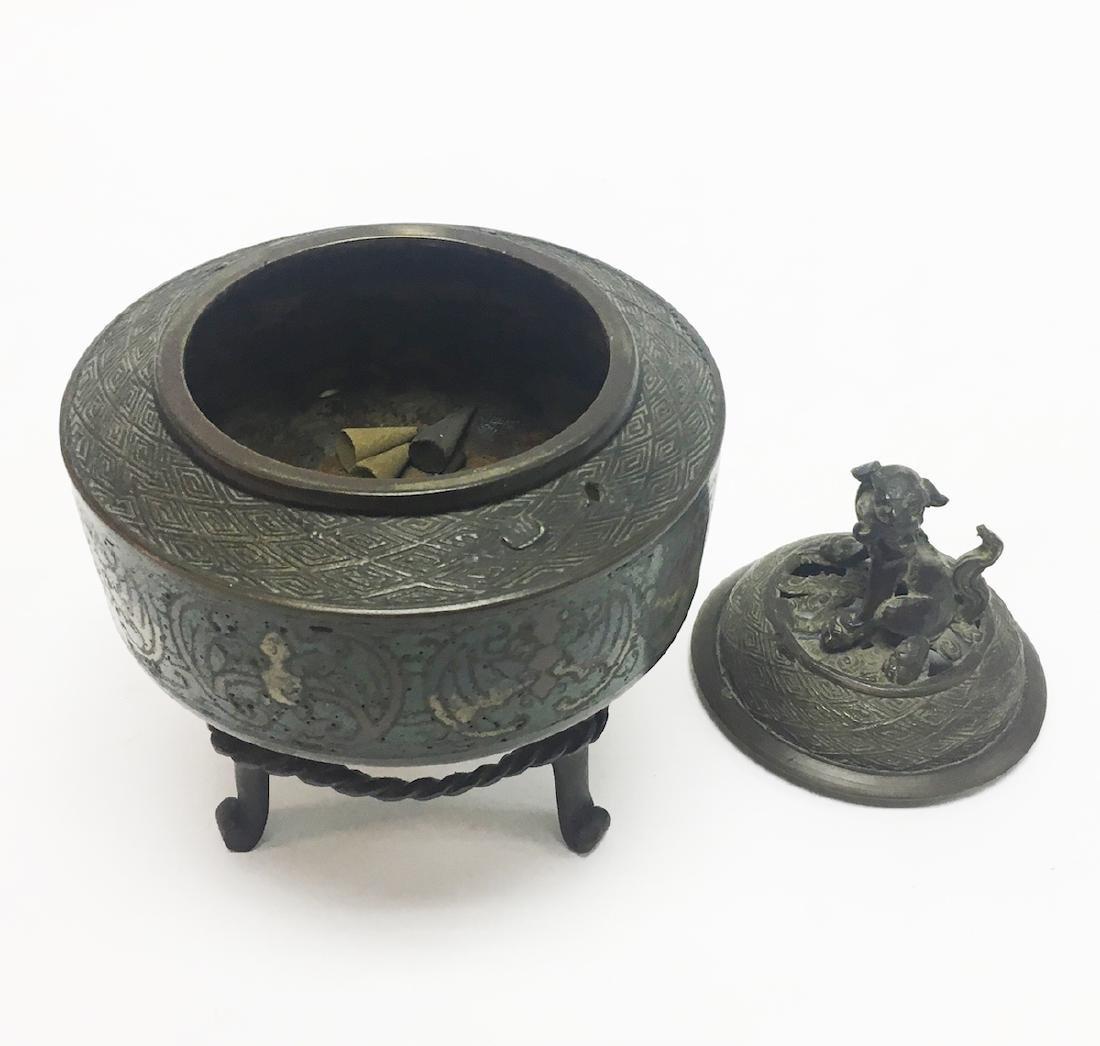 Chinese Enamel and Bronze Incense Burner - 3