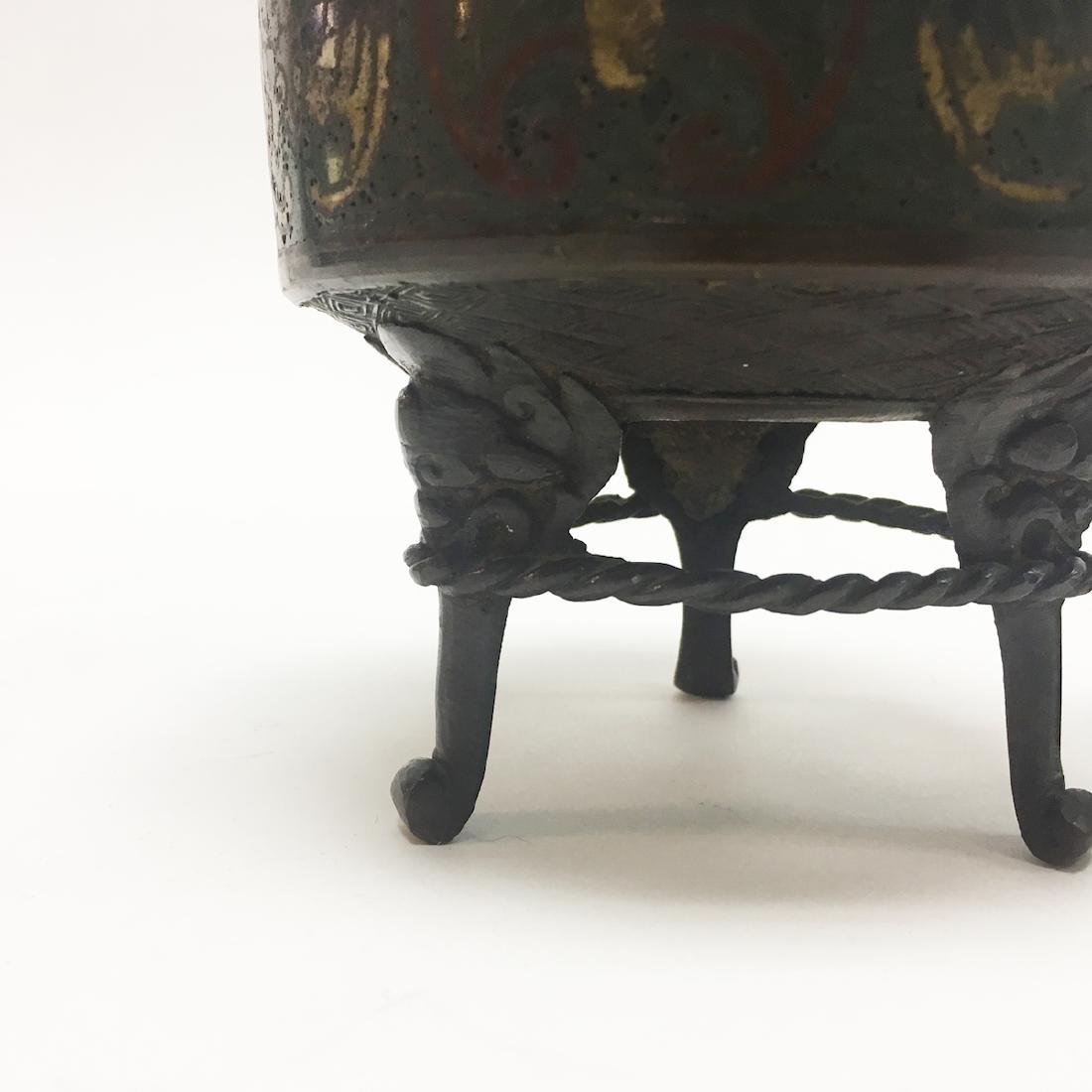 Chinese Enamel and Bronze Incense Burner - 4