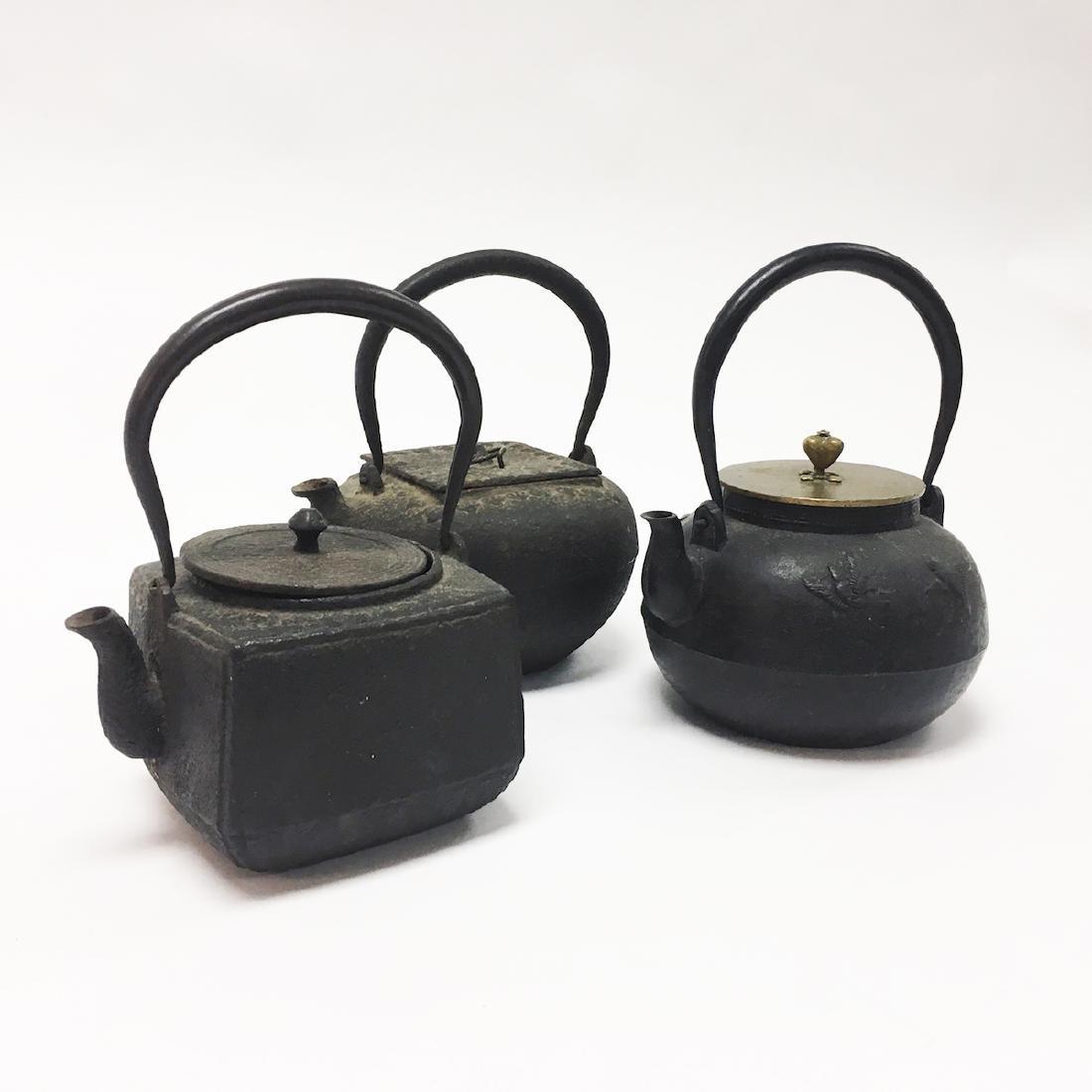 Three Asian Iron Teapots - 3