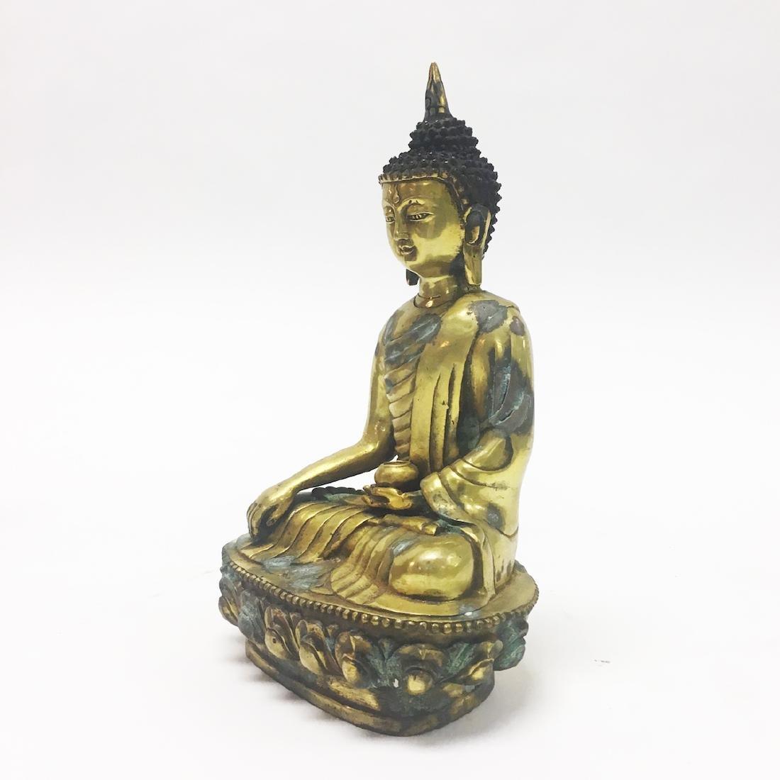 Late 19th Century Gilt Bronze Buddha - 2