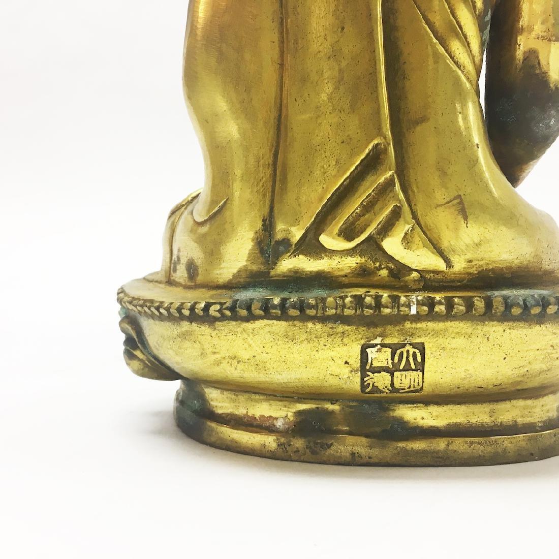Late 19th Century Gilt Bronze Buddha - 4