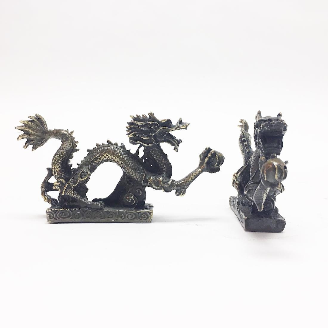 A Pair of Chinese Bronze Dragon Ornaments - 3