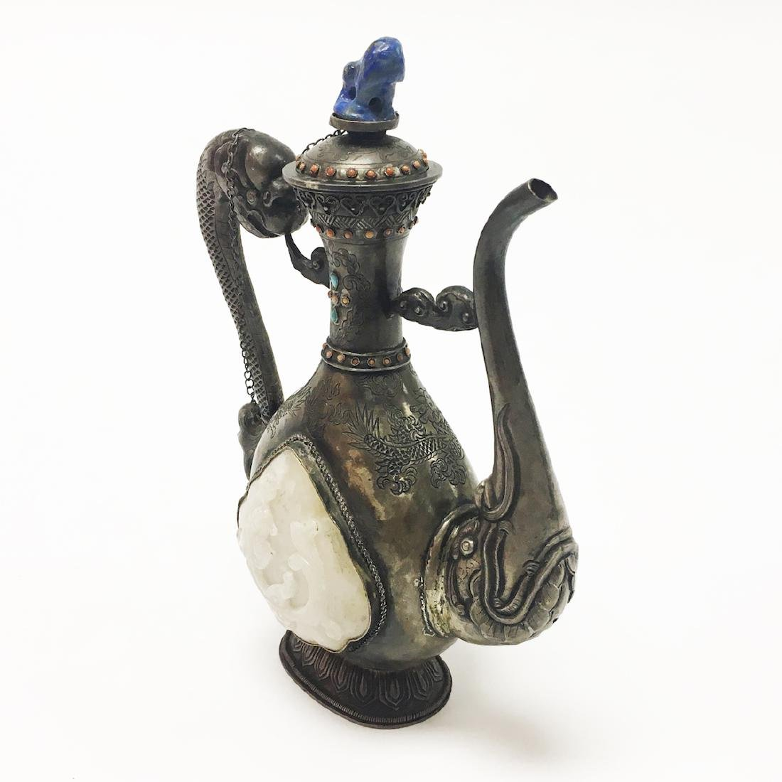 China / Mongolian Silver Jade Ewer - 2