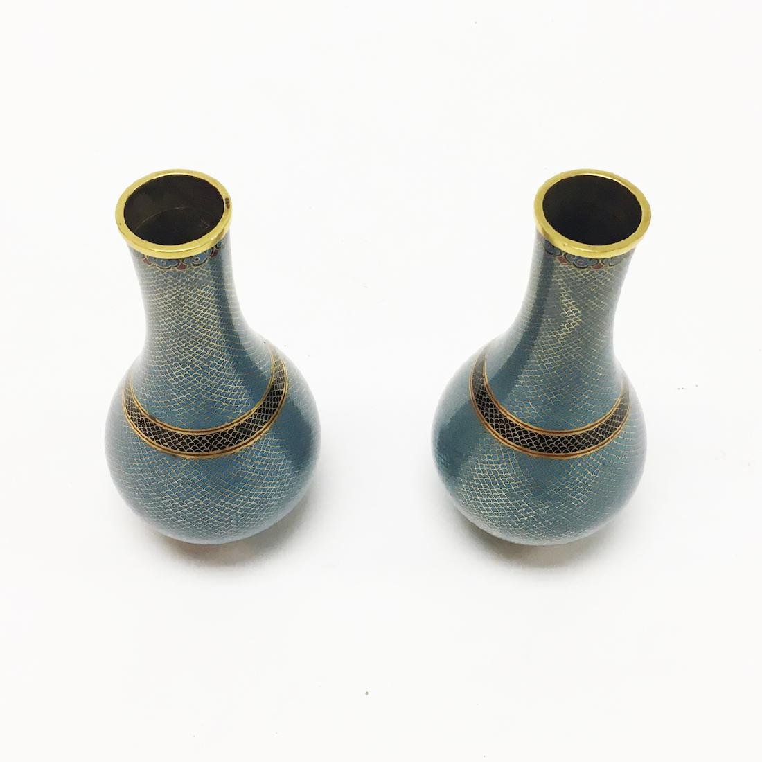 Pair of Chinese Cloisonne Vases - 2