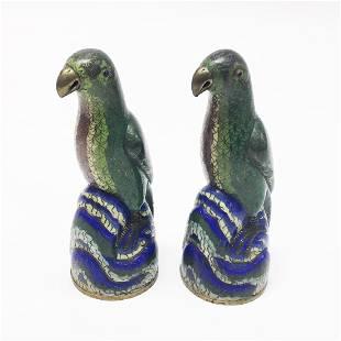Pair of Cloisonne Figures of Parrots