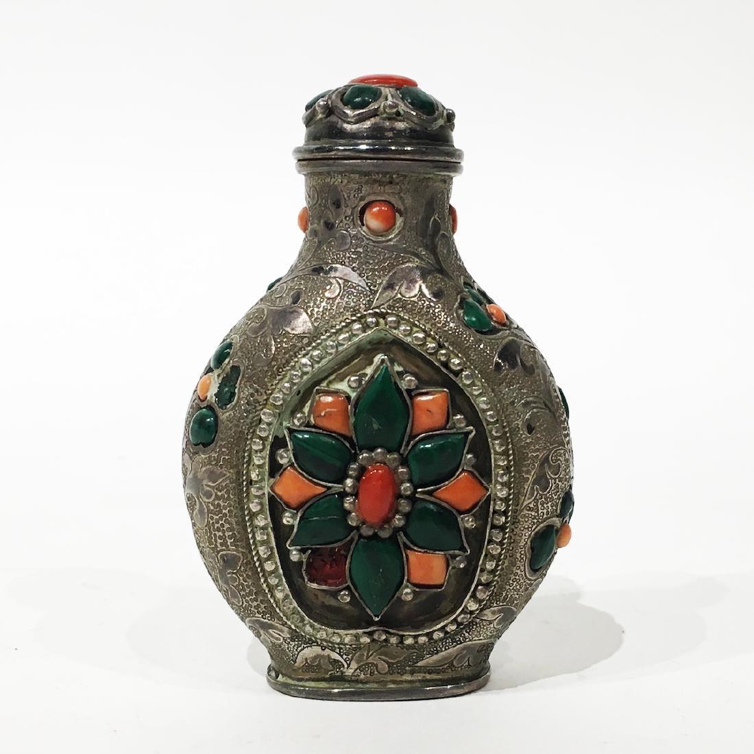 Sino-Tibetan Coral Inlaid Silver Snuff Bottle