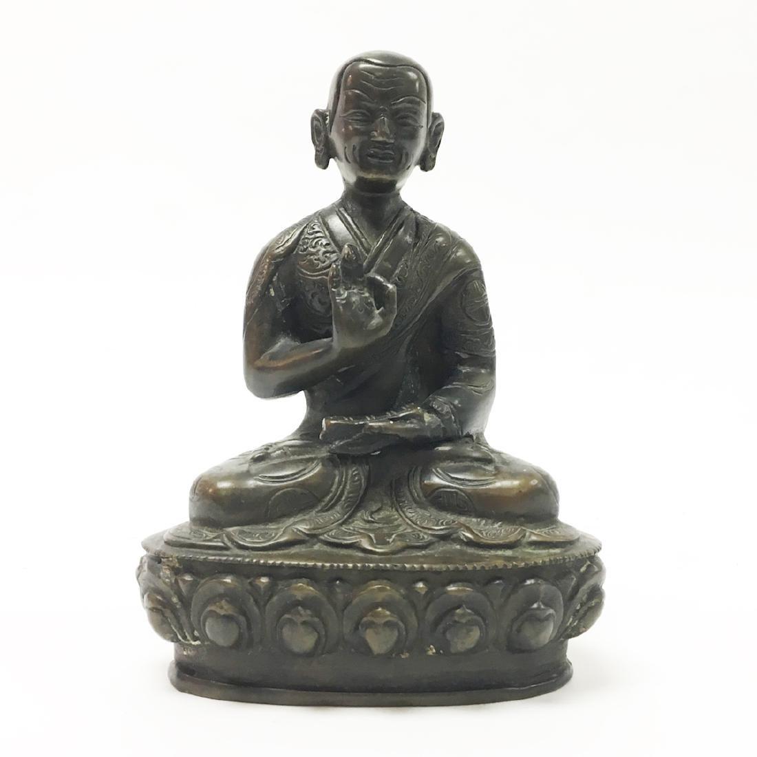 Chinese Bronze Lama Qing Dynasty Figure