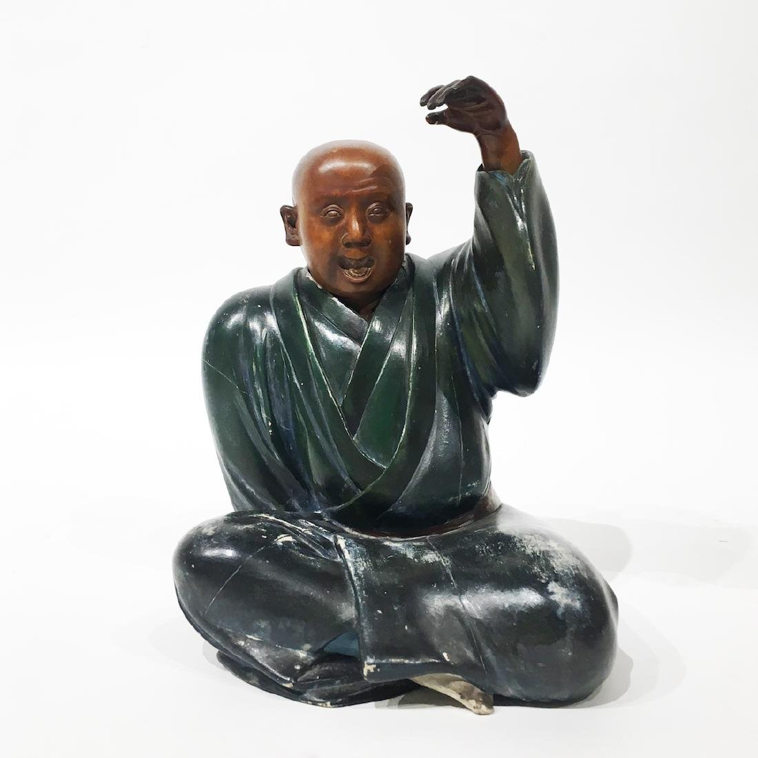 Japanese Polychrome Painted Wood Statue