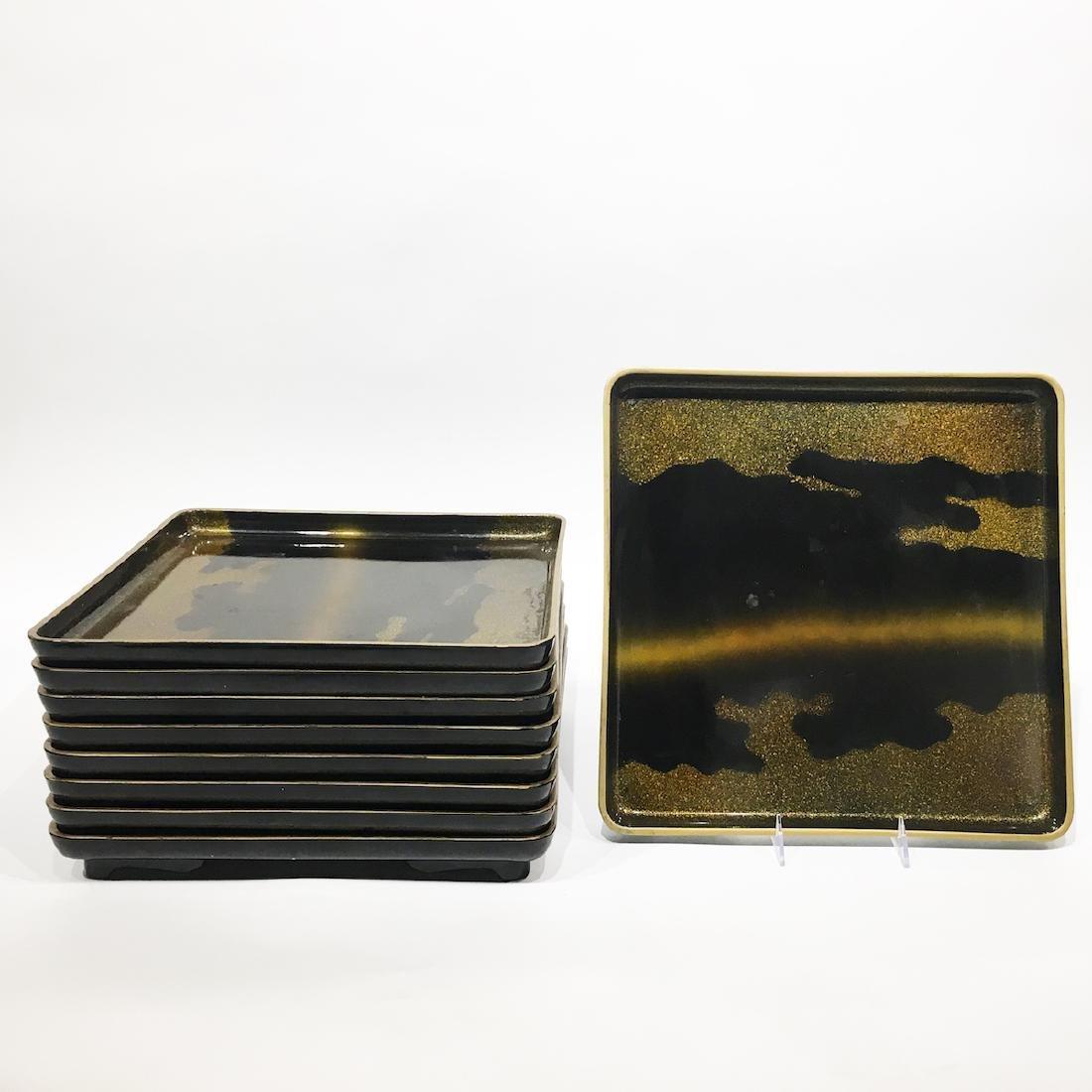 Set of Nine Japanese Lacquer Trays