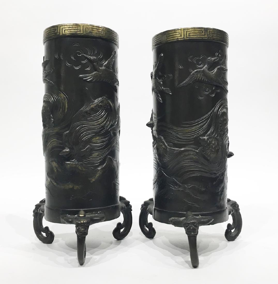 Pair of Japanese Bronze Vases with Turtles