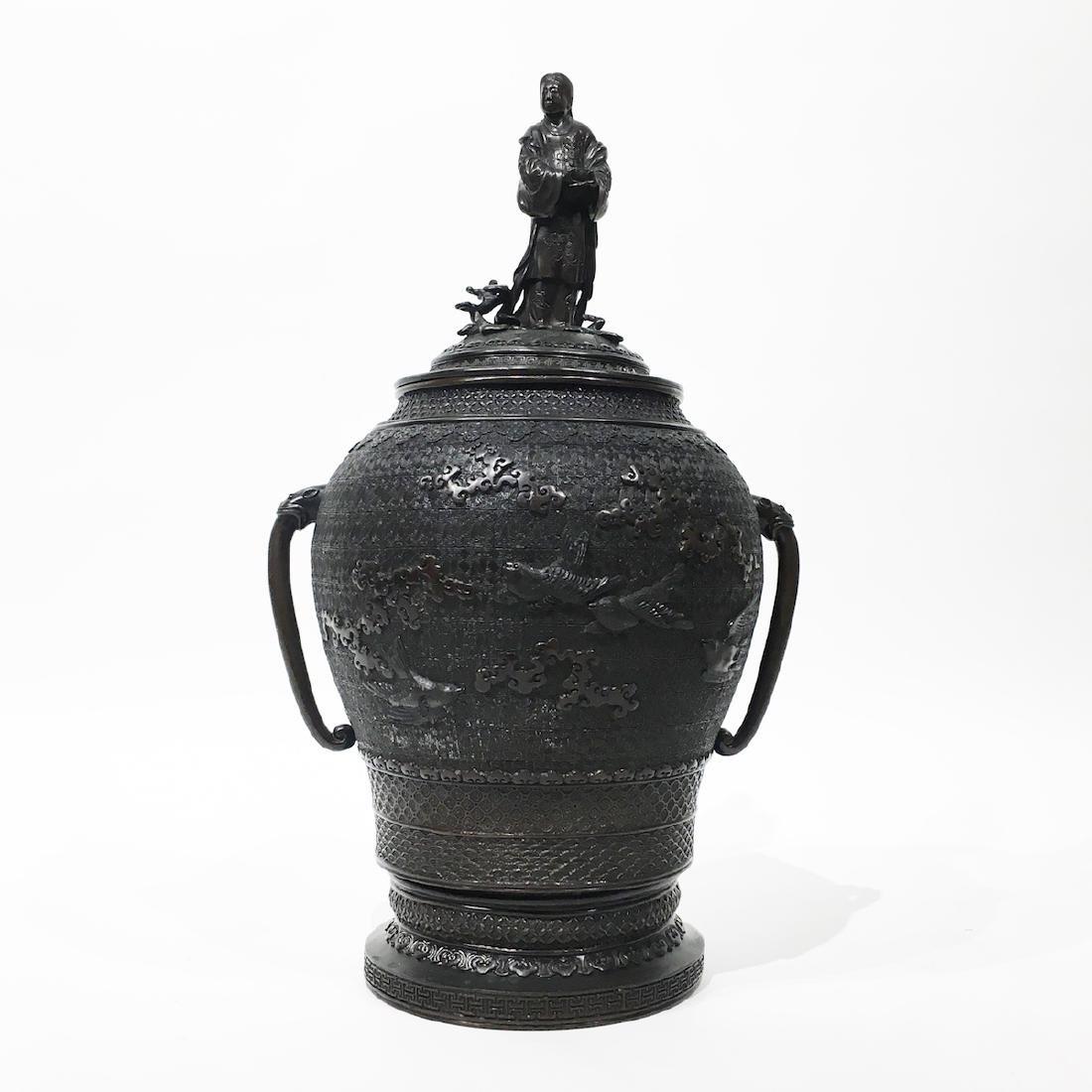 Japanese Bronze Covered Urn, Rojen Chu
