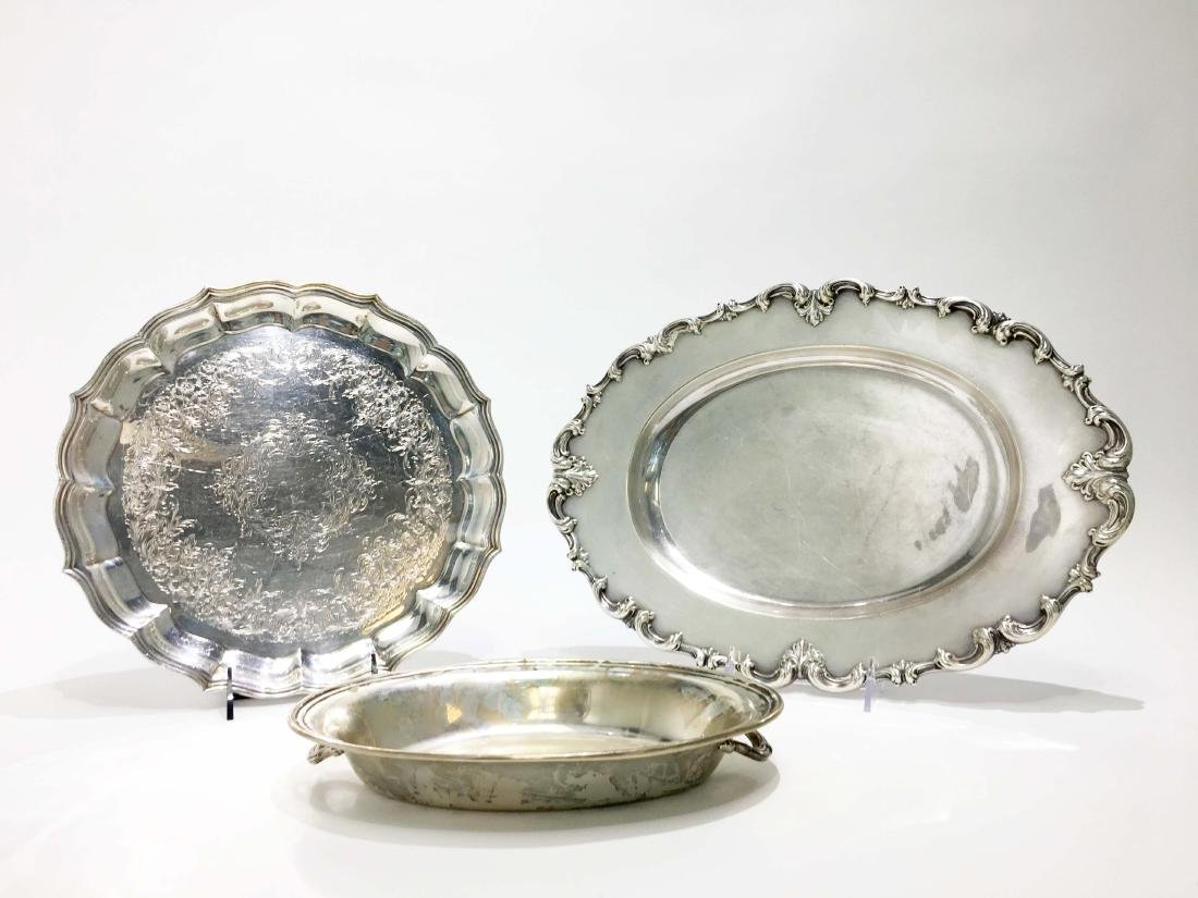 Three Silver Platters of Various Makers