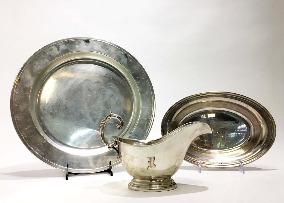 Gorham Sterling Silver Platters & Gravy Boat