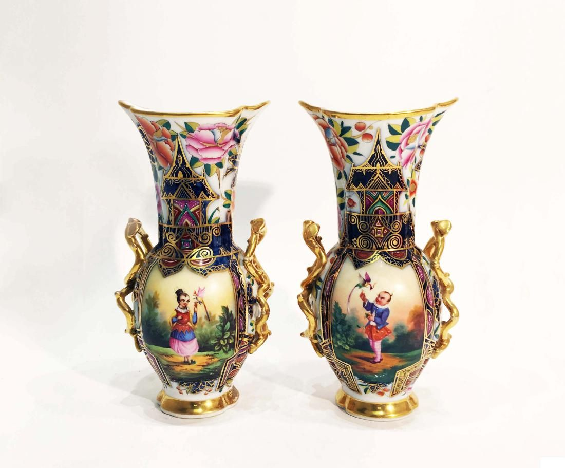A Pair of English Porcelain Vases