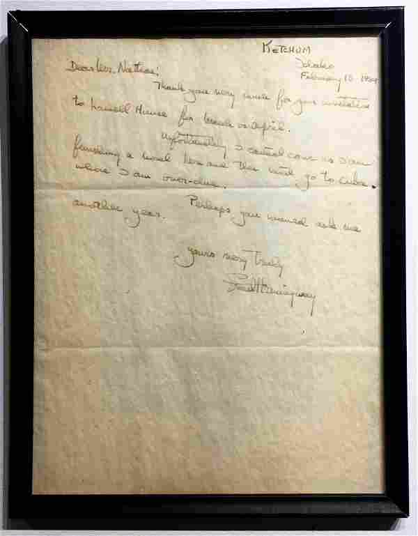Handwritten and Signed Letter from Ernest Hemingway