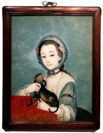 Chinese Chien Lung Reverse Painting on Glass