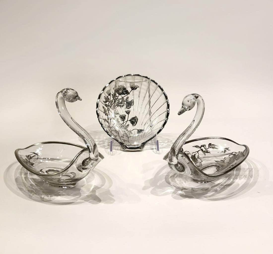Japanese Silver Overlay Glass Plate & Pair Swan Bowls