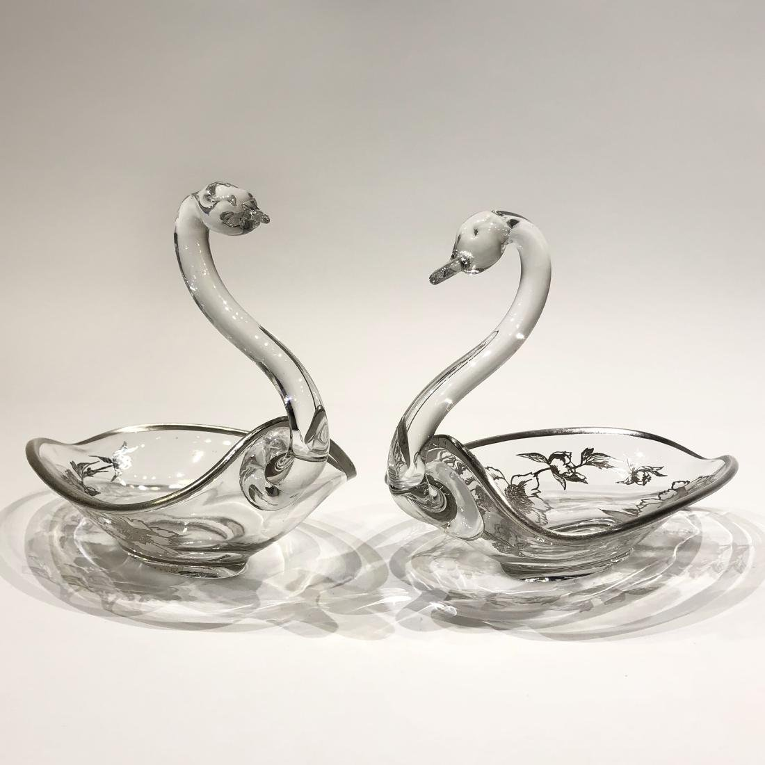 Japanese Silver Overlay Glass Plate & Pair Swan Bowls - 2