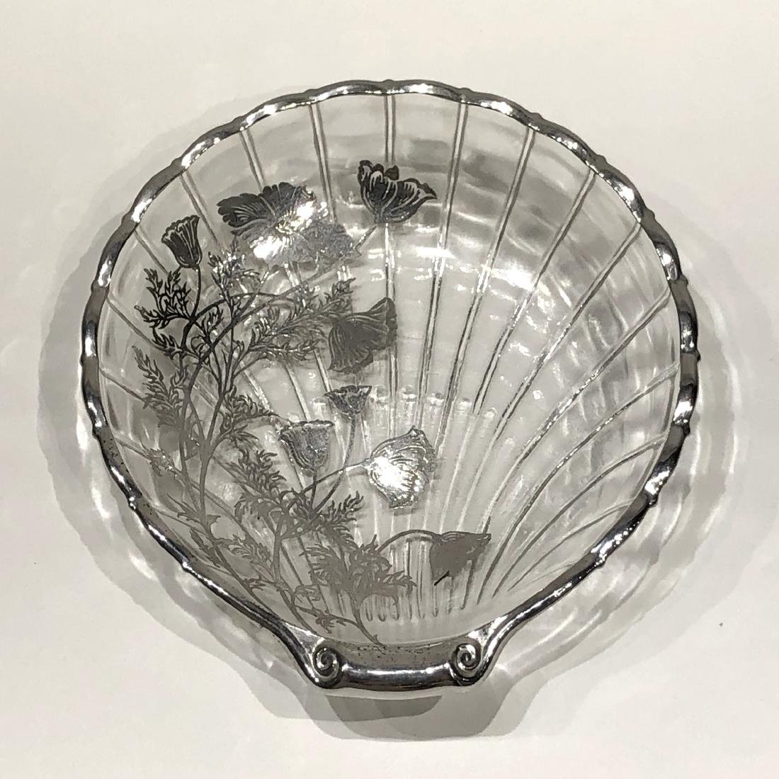 Japanese Silver Overlay Glass Plate & Pair Swan Bowls - 4